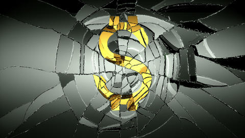 Glass and golden dollar symbol shattered slow moti Animation