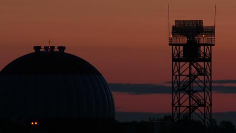 4K UHD Stock footage Airfield Radar Against Dawn Stock Video Footage