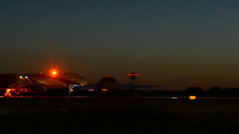 Stock Footage Airplane Take Off At Early Morning stock footage