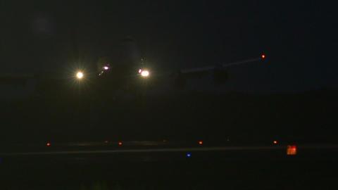 Stock footage AirPlane Landing at Night Footage