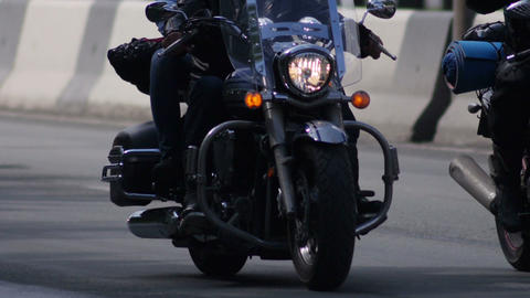 Stock Footage Motorbikes Column on the Higway Footage