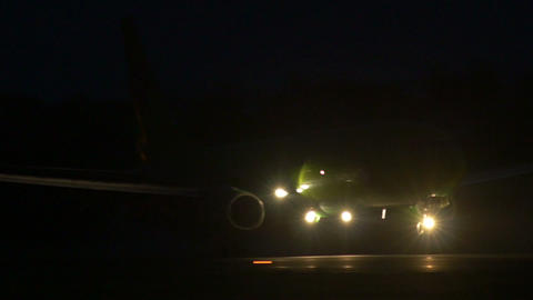 Stock footage Passenger Plane Landing at Night Footage