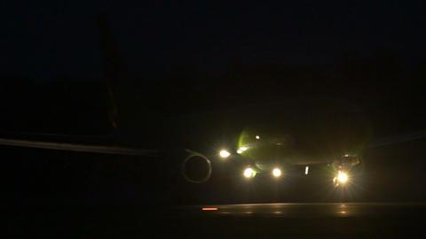 Stock footage Passenger Plane Landing at Night Footage