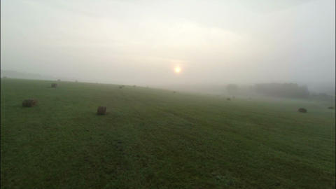 Aerial Stock Footage Farm Field at the Foggy Morni Footage