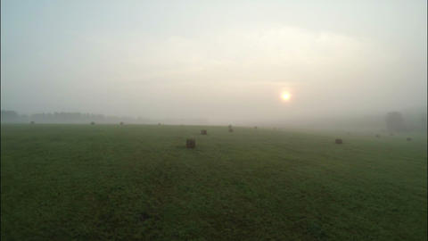 Aerial Stock Footage Farm Field in the Early Morni Footage