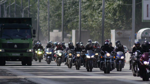 Stock Footage Bikers Column on the Higway at Summe Footage