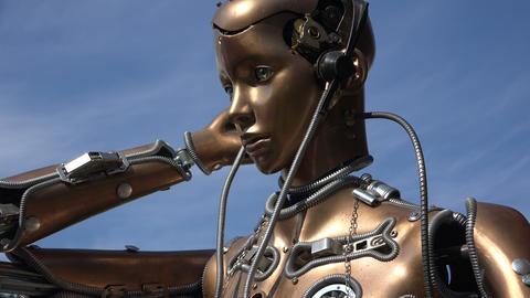 Humanoid robot. Woman. 4K Footage