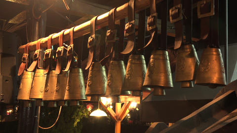 Hanging bells. 4K Footage
