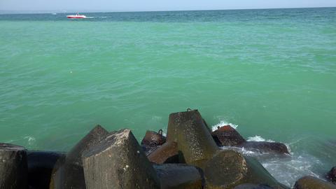 Sea, waves, rocks. 4K Footage