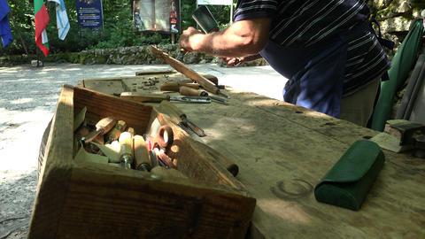 Master Carves Wood. 4K stock footage