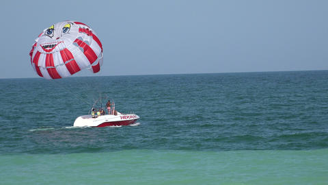 Balloon, parachute over the sea. 4K Stock Video Footage