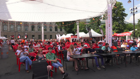The audience in the summer theatre. 4K Stock Video Footage