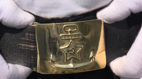 Shiny Buckle Marine Belt. 4K stock footage