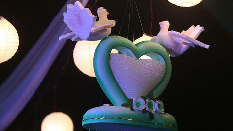 decorative heart with Chinese luminous balls Footage