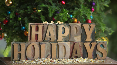 happy holidays word with tree and bird Stock Video Footage