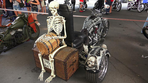 Skeleton on Harley Davidson bike. 4K Footage