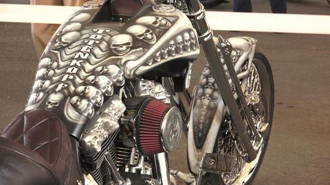 Skeleton on Harley Davidson bike. 4K Footage