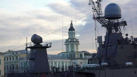 Antennas warship. 4K Stock Video Footage