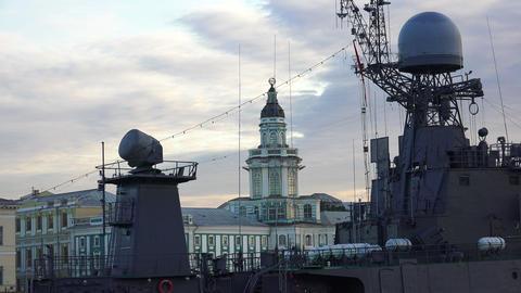 Antennas warship. 4K Live Action