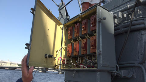 Machinery and equipment of a warship. 4K Footage