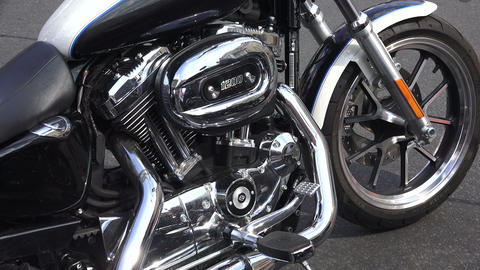 Engine Harley Davidson bike.4K Footage