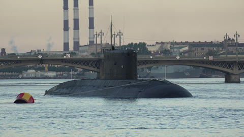 Military submarine. Neva. Petersburg. 4K Footage