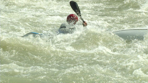 wildwater canoeing man slow motion 24 Stock Video Footage