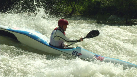 Wildwater Canoeing Man Slow Motion 24 stock footage