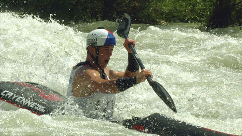 wildwater canoeing man slow motion 28 Footage
