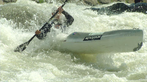wildwater canoeing man slow motion 15 Stock Video Footage
