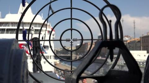 Sight gun battle warship. 4K Footage