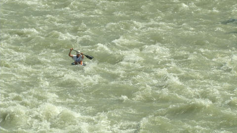 wildwater canoeing man 02 Footage