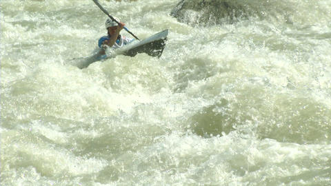 wildwater canoeing woman slow motion 02 Stock Video Footage