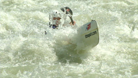 wildwater canoeing woman slow motion 03 Footage