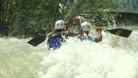 wildwater canoeing man double slow motion 12 Footage