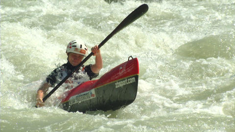 wildwater canoeing woman slow motion 08 Footage