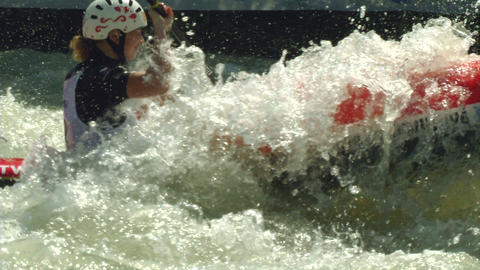 wildwater canoeing woman slow motion 08 Stock Video Footage