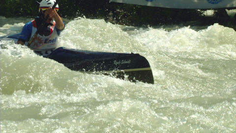 wildwater canoeing woman slow motion 09 Stock Video Footage