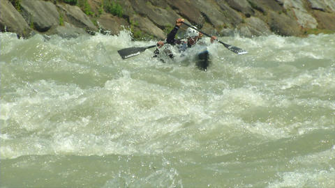 wildwater canoeing man double slow motion 61 Stock Video Footage