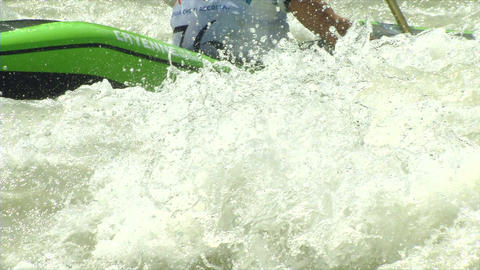 wildwater canoeing man slow motion 12 Stock Video Footage