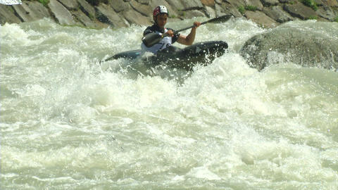 wildwater canoeing man slow motion 23 Stock Video Footage