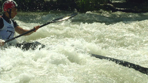 wildwater canoeing man slow motion 23 Footage