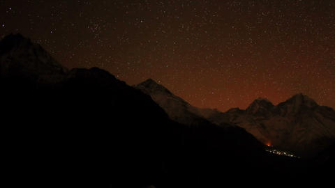 Time lapse of stars behind mountain Kongde Ri Footage