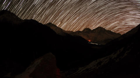 Time lapse of stars behind mountain Kongde Ri Footage