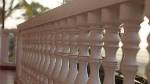 Balcony Rail Close To The Beach stock footage