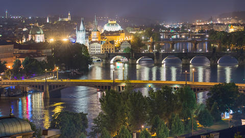 city and bridges of prague close time lapse 11465 Footage