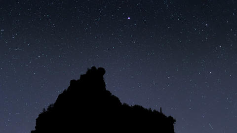 milky way stars mountain silhouette time lap 11467 Footage
