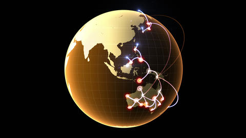 4K Growing network across the globe Animation