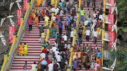 People On Batu Caves Steps During Thaipusam Festiv stock footage