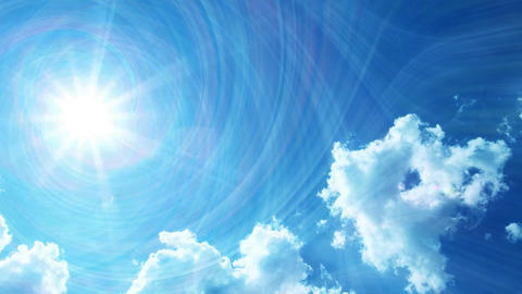 Sun Rays and Clouds Animation Video Stock Video Footage